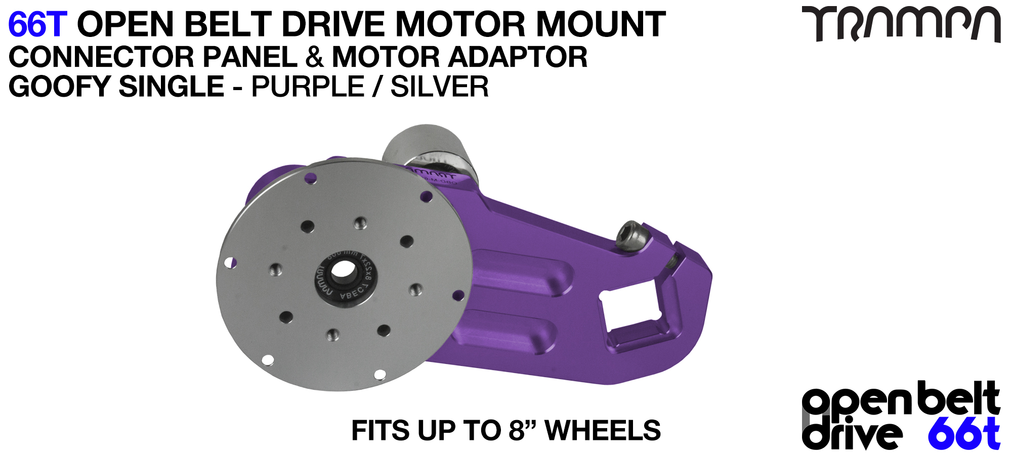 66T OPEN BELT DRIVE Motor Mount & Motor Adaptor - SINGLE PURPLE