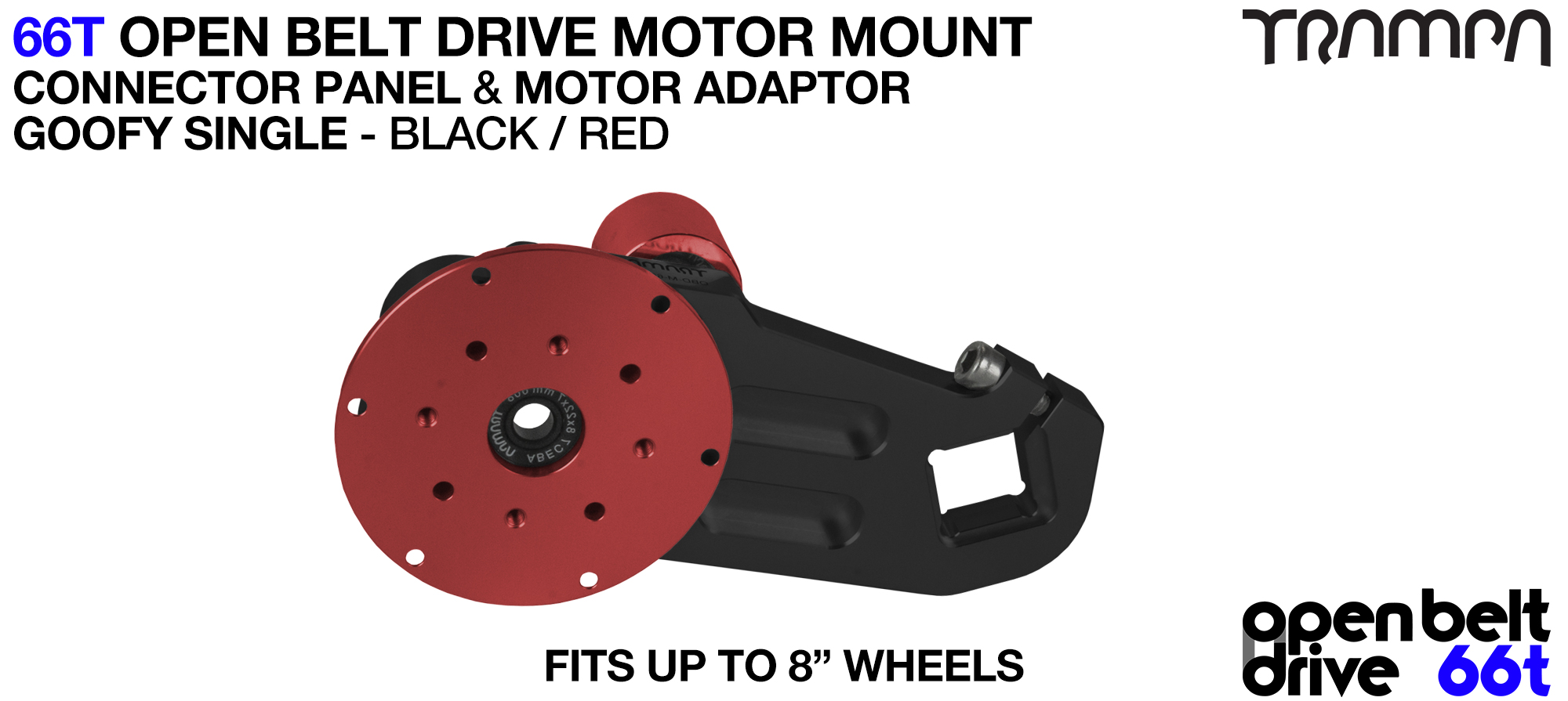 66T OPEN BELT DRIVE Motor Mount & Motor Adaptor - SINGLE RED