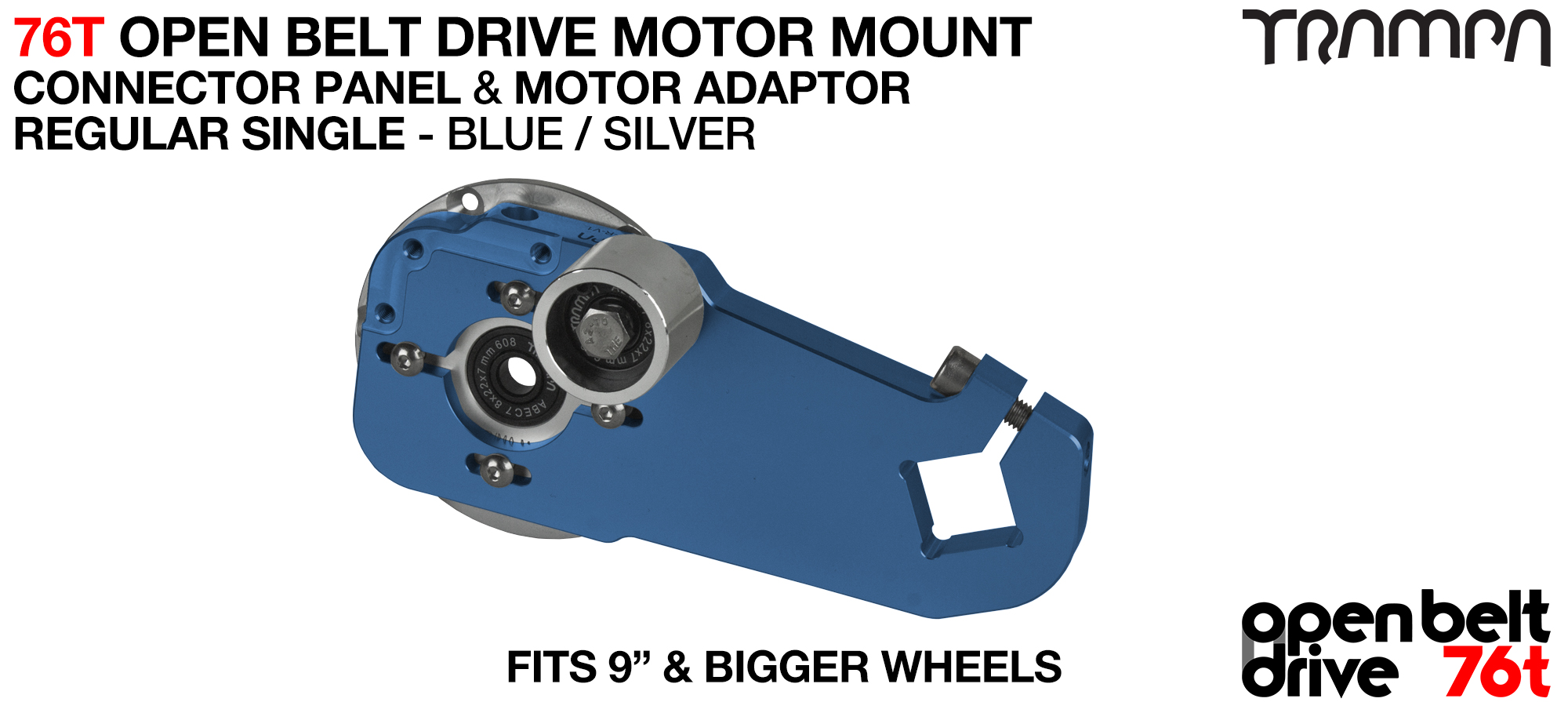 76T Open Belt Drive Motor Mount & Motor Adaptor - SINGLE BLUE