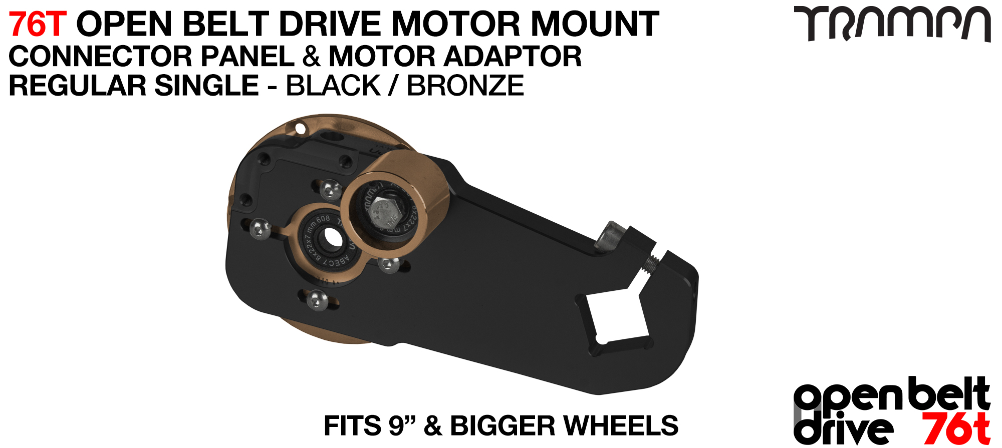 76T Open Belt Drive Motor Mount & Motor Adaptor - SINGLE BRONZE