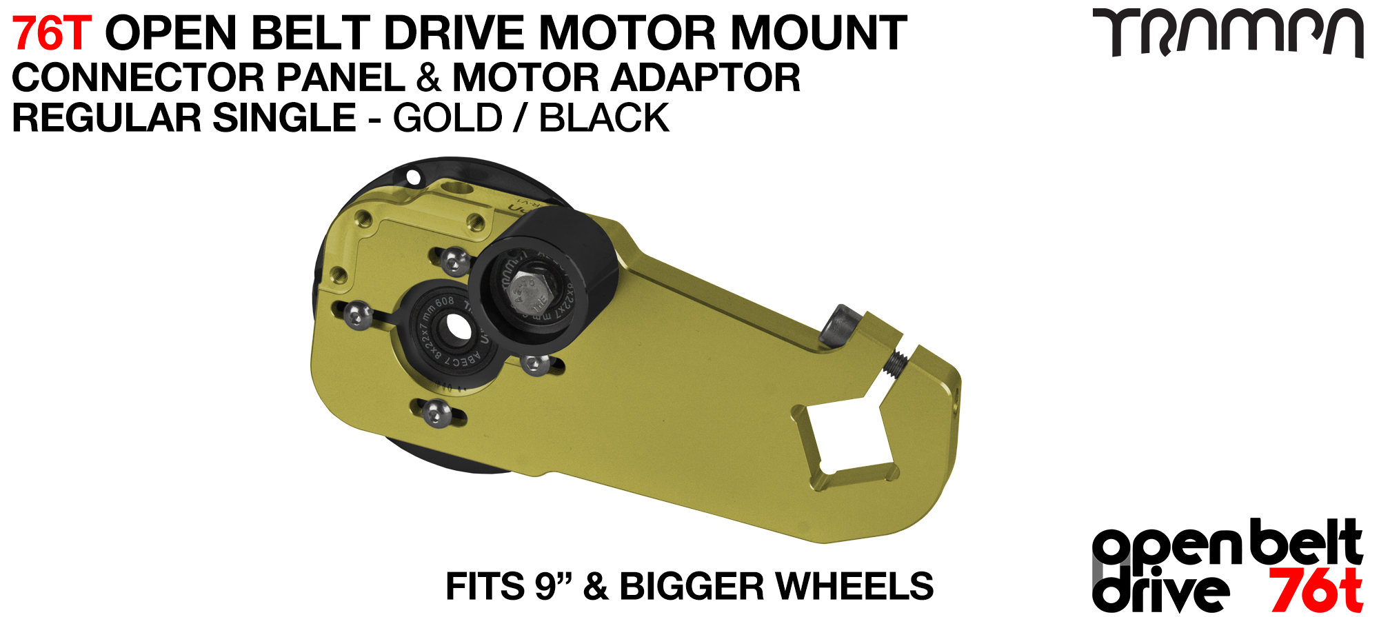 76T Open Belt Drive Motor Mount & Motor Adaptor - SINGLE GOLD