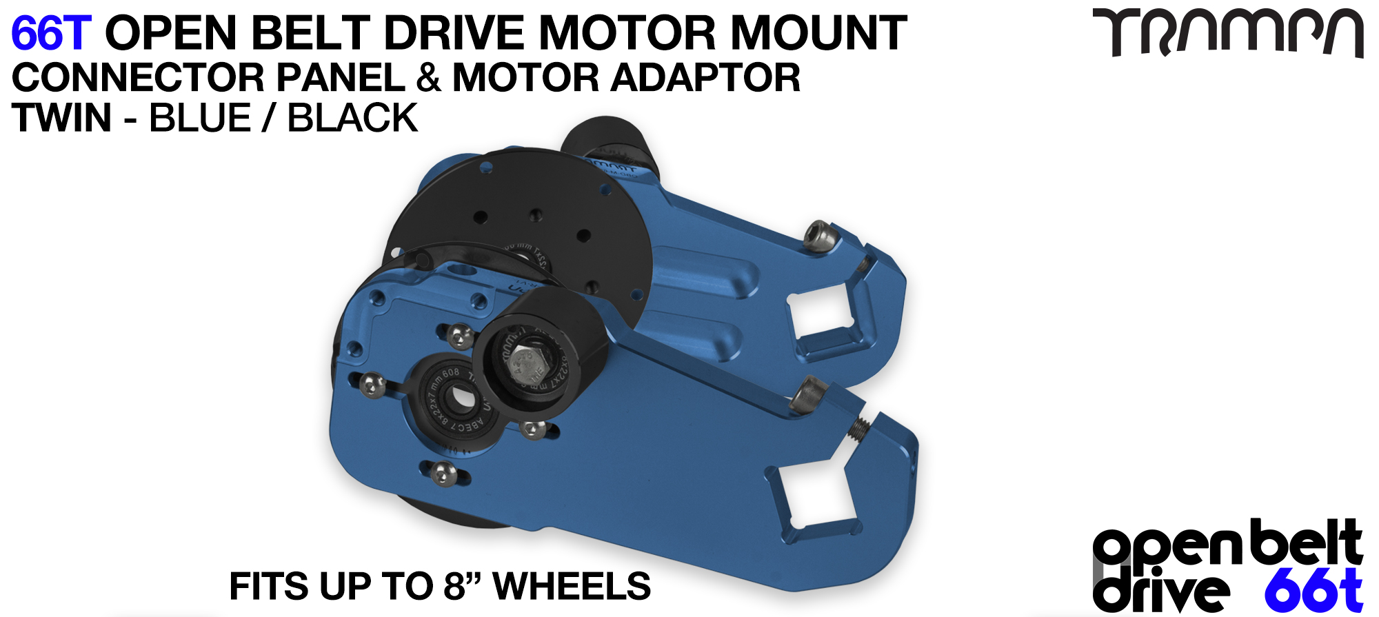 66T OPEN BELT DRIVE Motor Mount & Motor Adaptor - TWIN BLUE