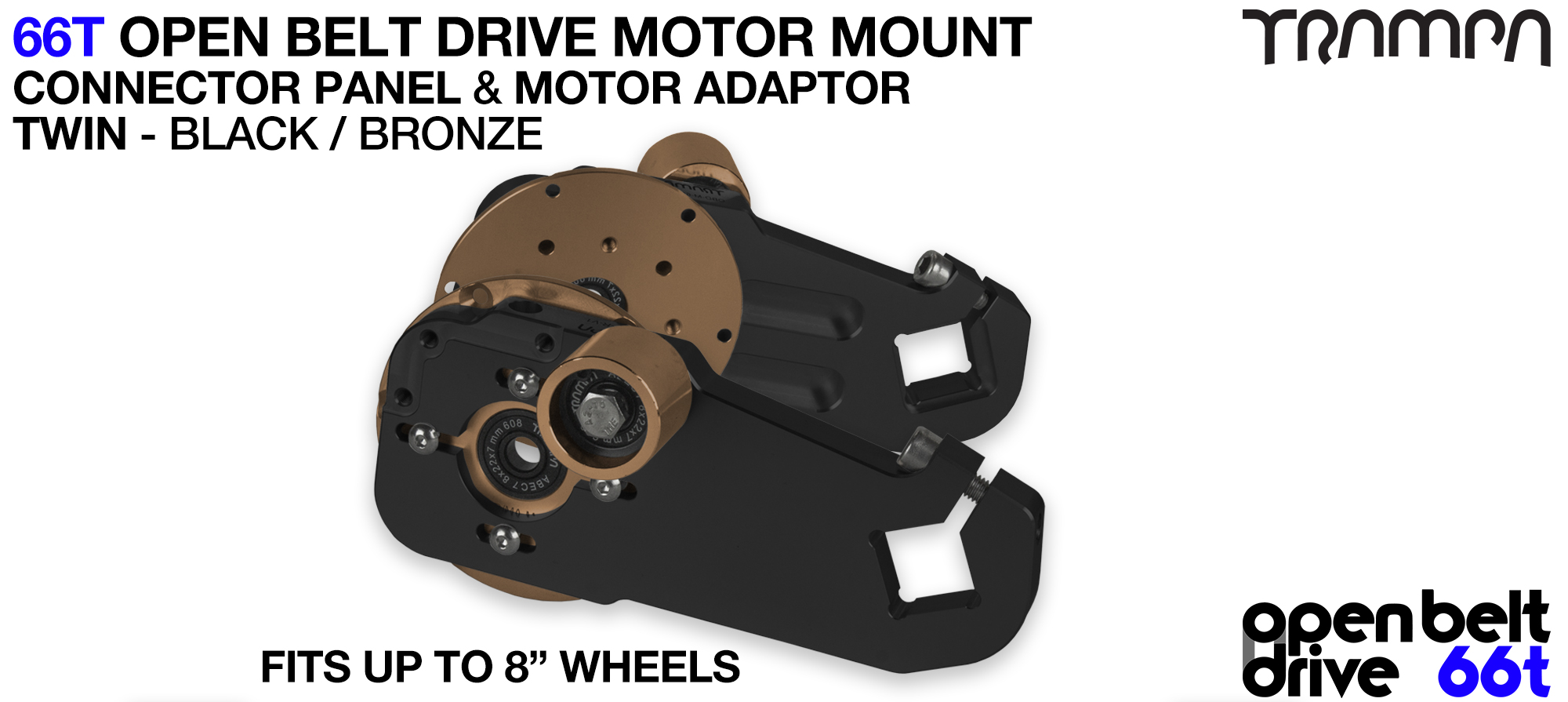 66T OPEN BELT DRIVE Motor Mount & Motor Adaptor - TWIN BRONZE