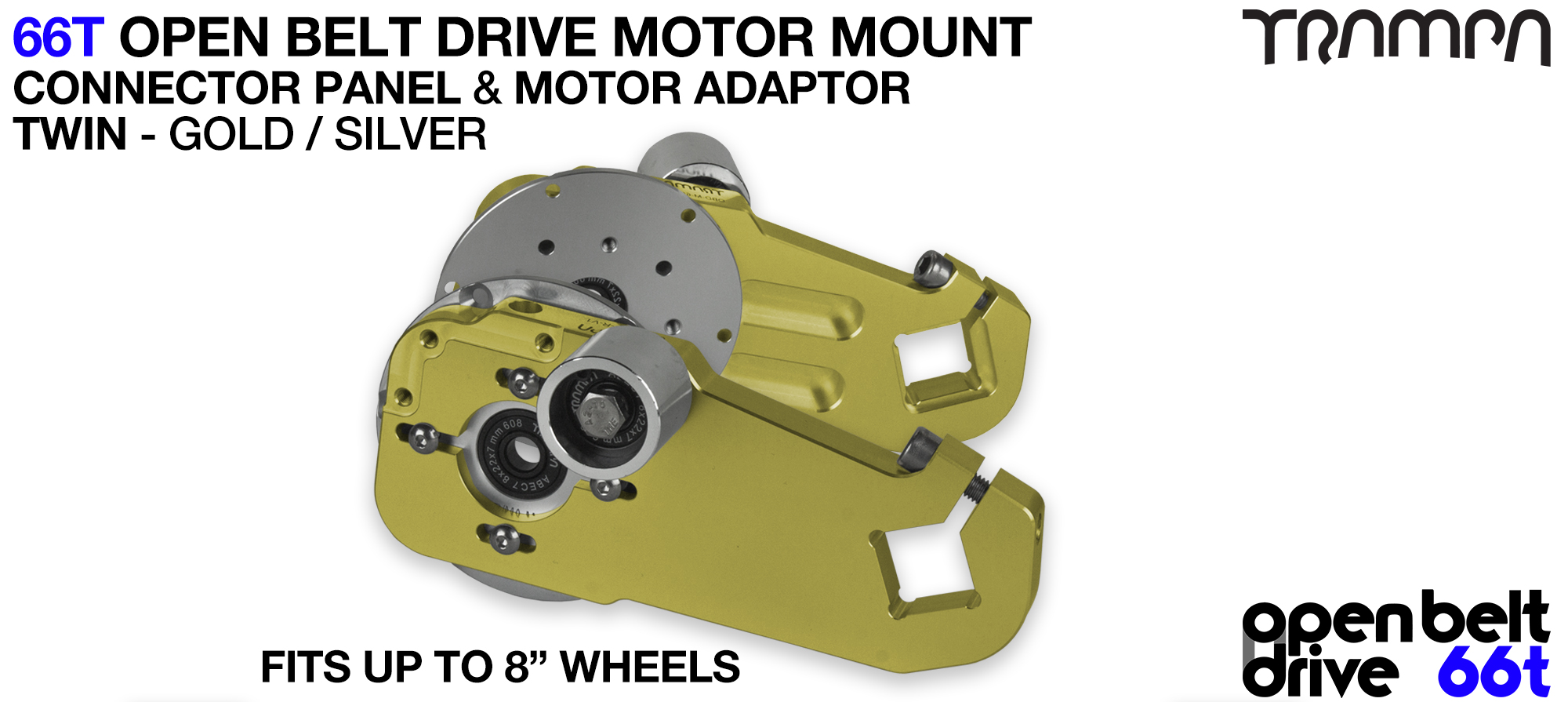 66T OPEN BELT DRIVE Motor Mount & Motor Adaptor - TWIN GOLD