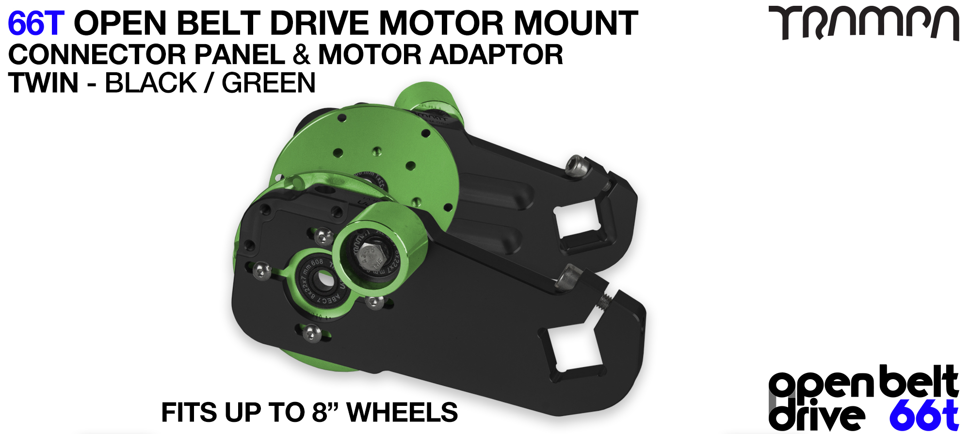 66T OPEN BELT DRIVE Motor Mount & Motor Adaptor - TWIN GREEN