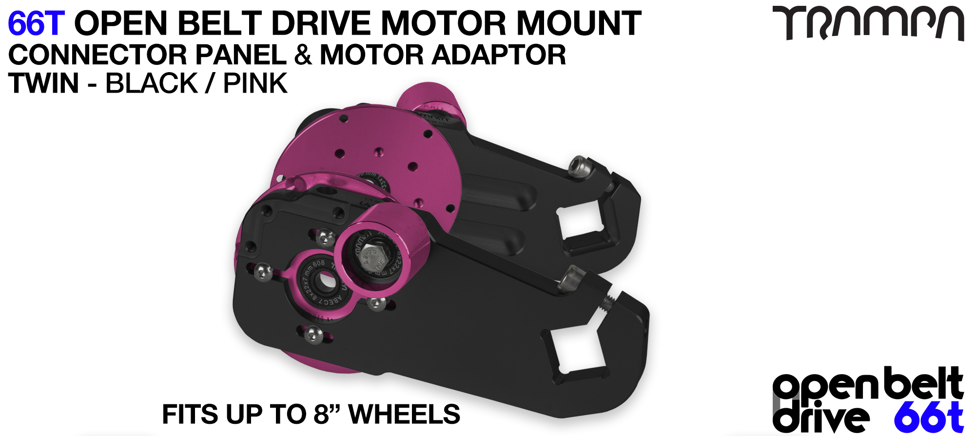 66T OPEN BELT DRIVE Motor Mount & Motor Adaptor - TWIN PINK