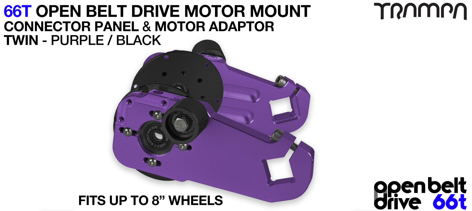 66T OPEN BELT DRIVE Motor Mount & Motor Adaptor - TWIN PURPLE