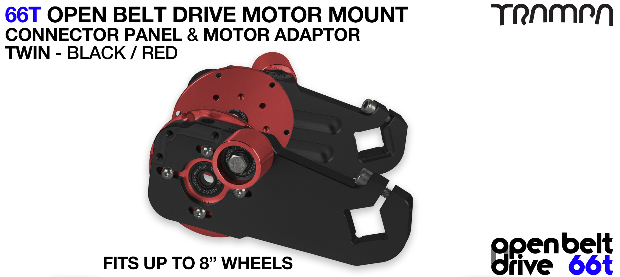 66T OPEN BELT DRIVE Motor Mount & Motor Adaptor - TWIN RED