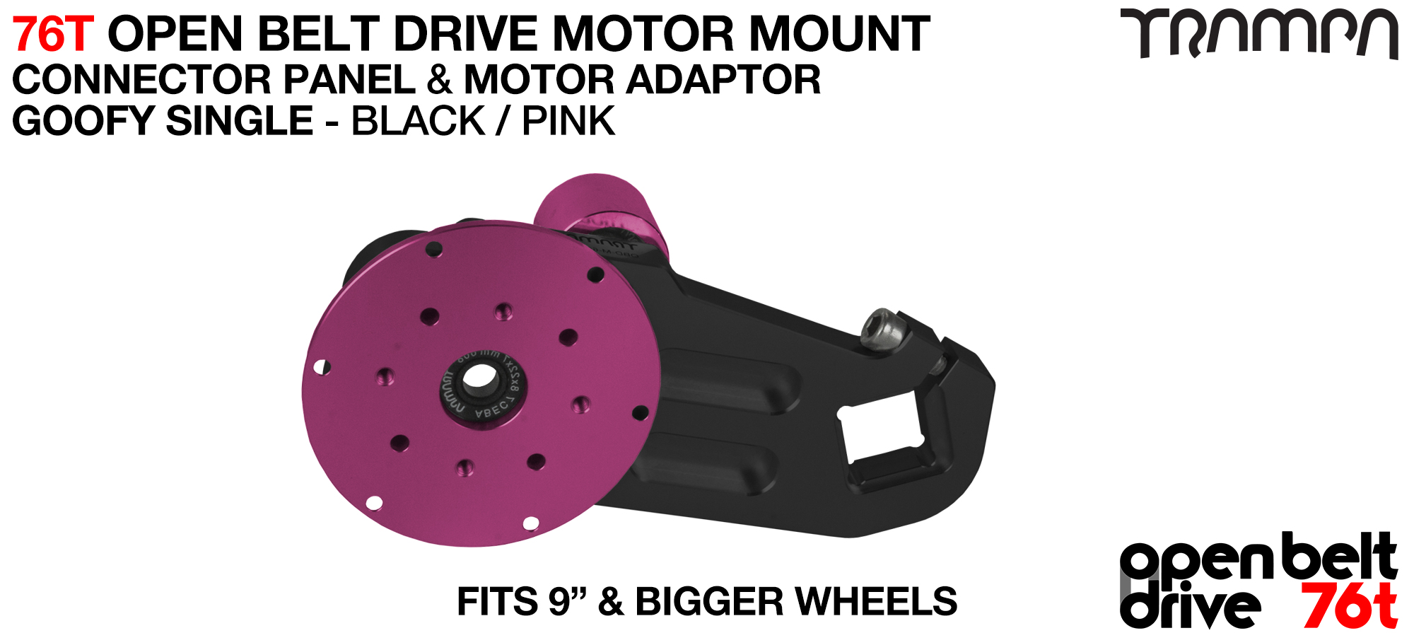76T Open Belt Drive Motor Mount & Motor Adaptor - SINGLE PINK