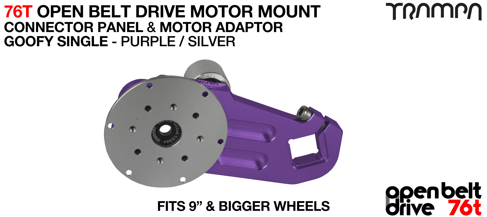 76T Open Belt Drive Motor Mount & Motor Adaptor - SINGLE PURPLE