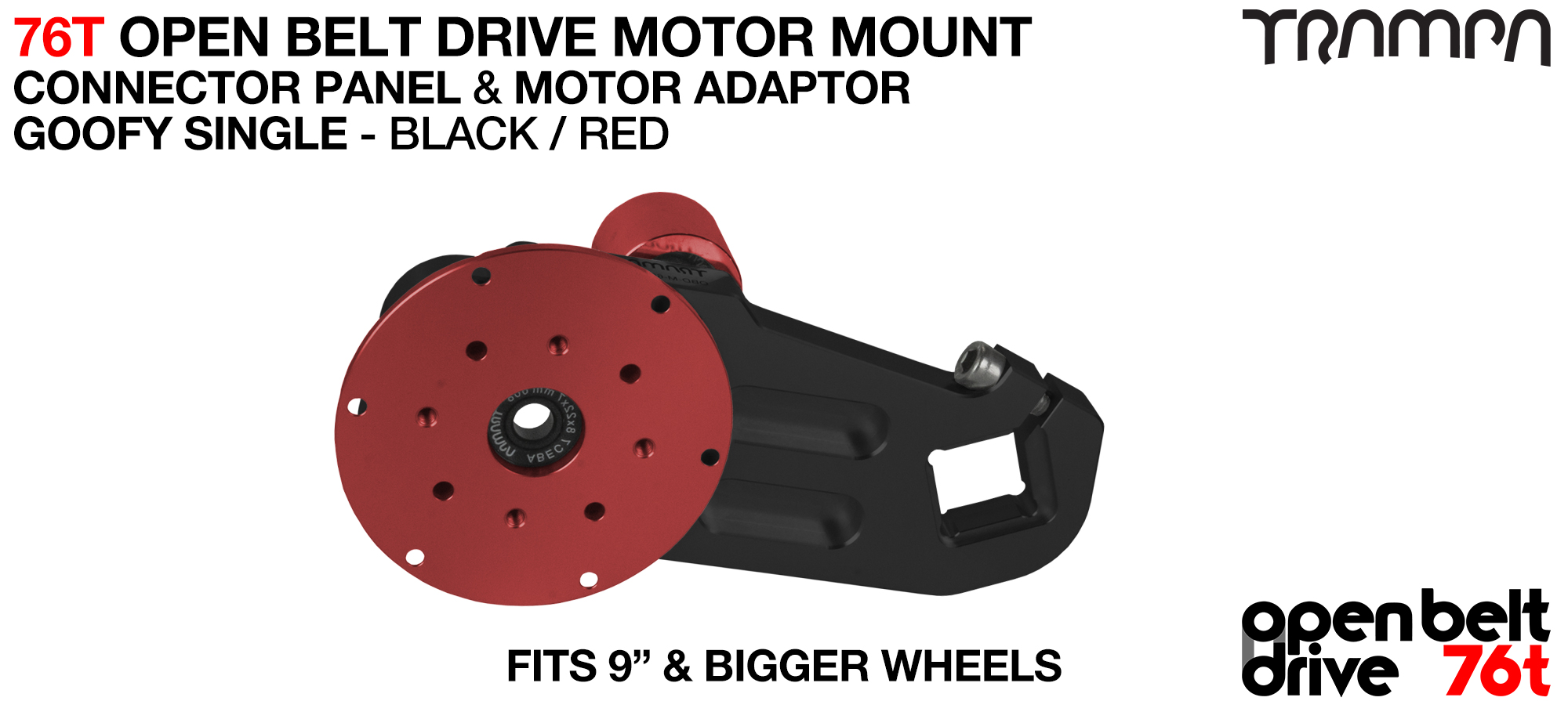 76T Open Belt Drive Motor Mount & Motor Adaptor - SINGLE RED