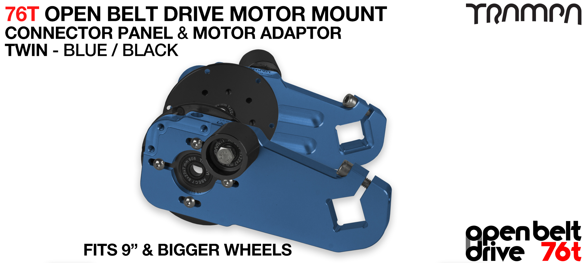 76T Open Belt Drive Motor Mount & Motor Adaptor - TWIN BLUE
