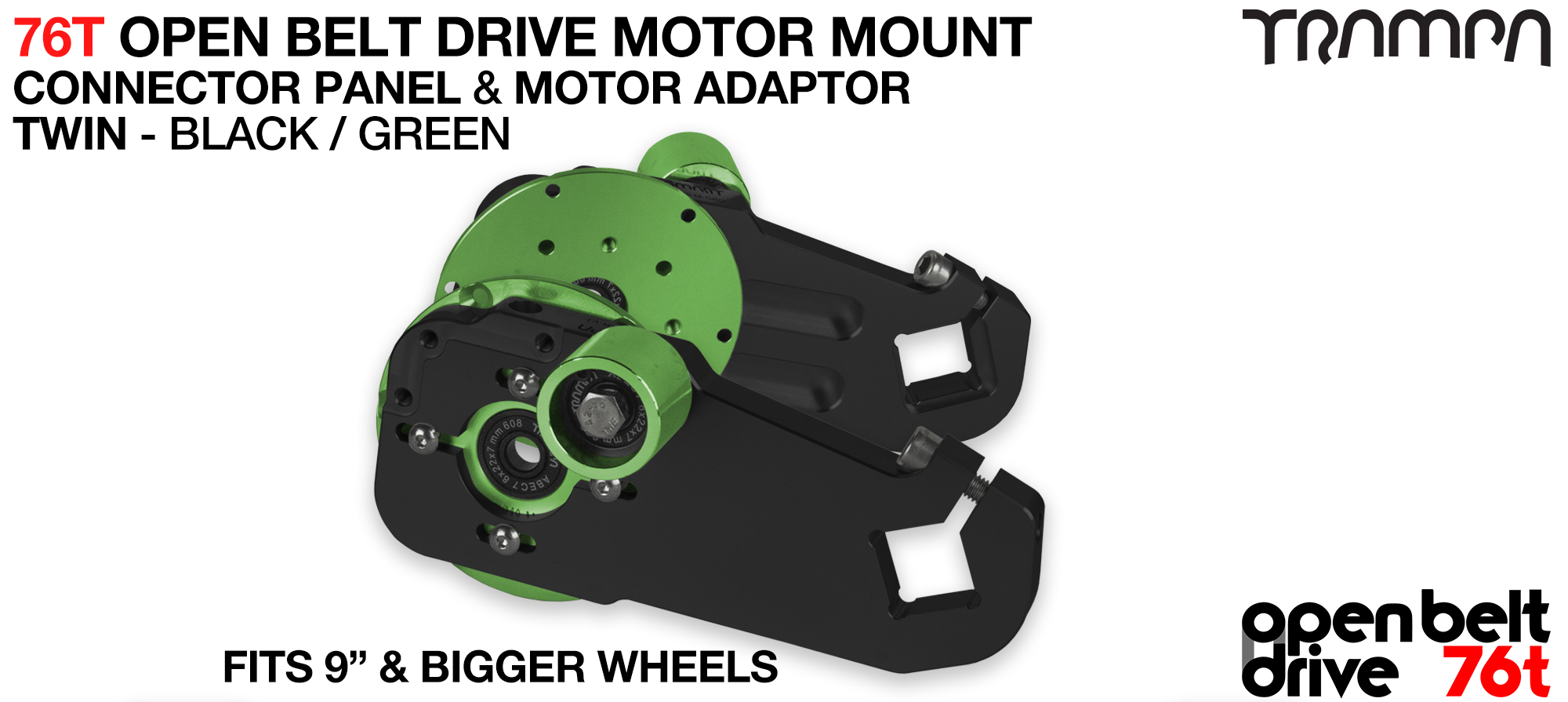 76T Open Belt Drive Motor Mount & Motor Adaptor - TWIN GREEN