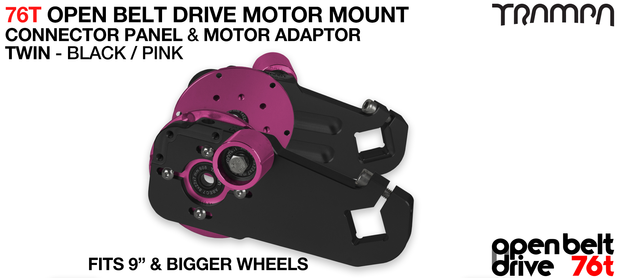 76T Open Belt Drive Motor Mount & Motor Adaptor - TWIN PINK