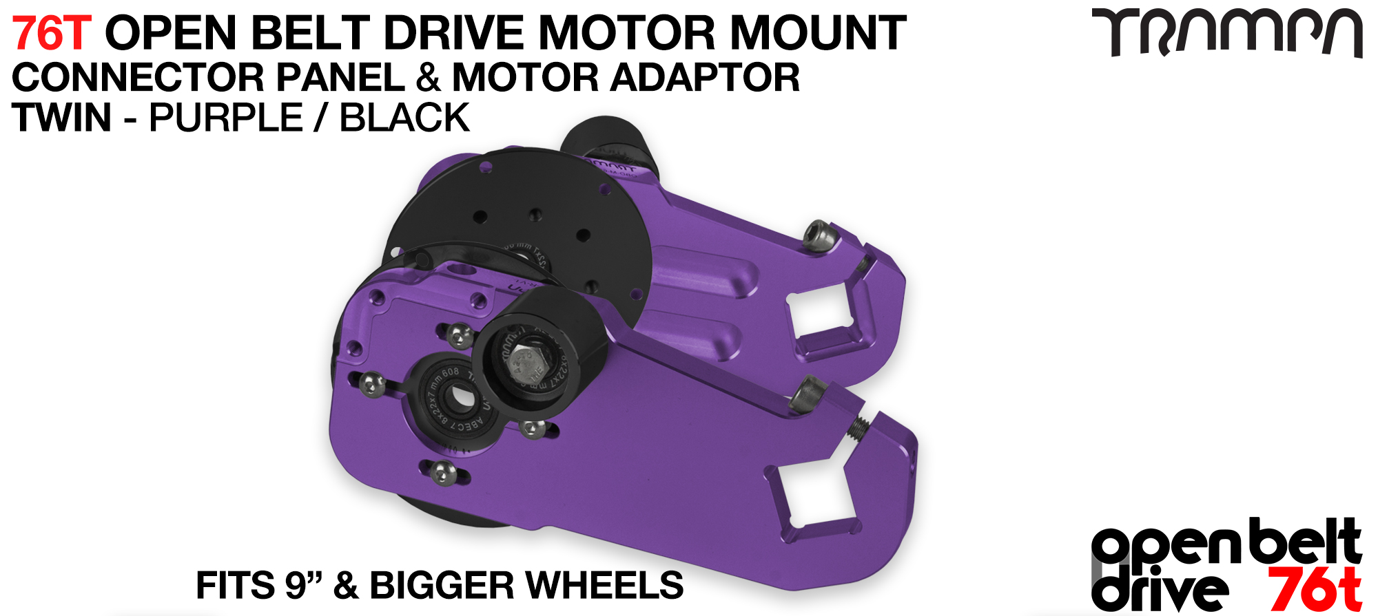 76T Open Belt Drive Motor Mount & Motor Adaptor - TWIN PURPLE