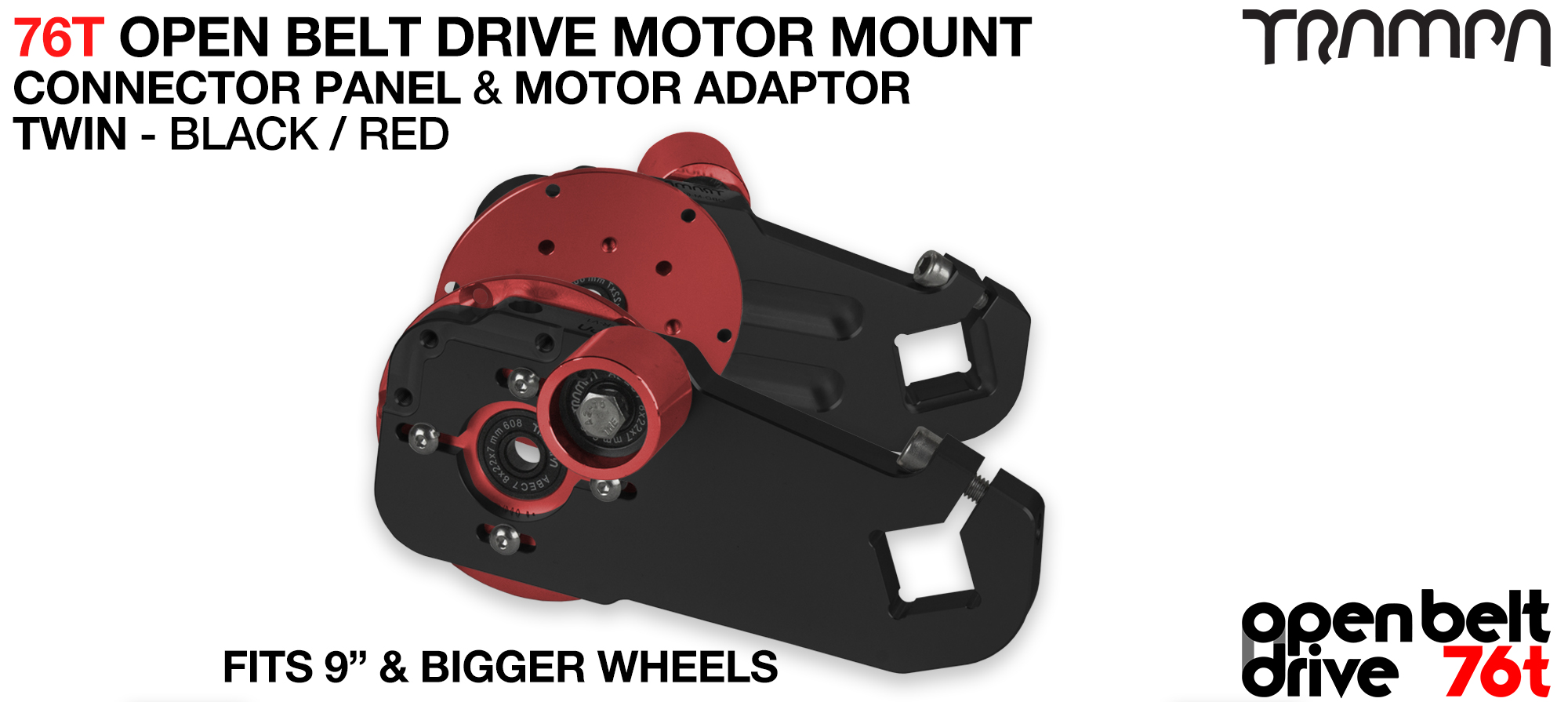 76T Open Belt Drive Motor Mount & Motor Adaptor - TWIN RED