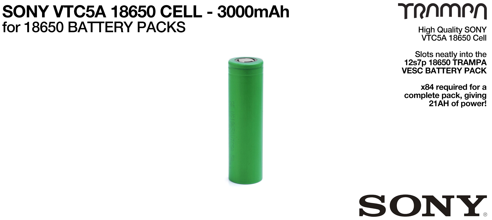 SONY VTC5A 18650 Cells 3000mAh - UK CUSTOMERS ONLY
