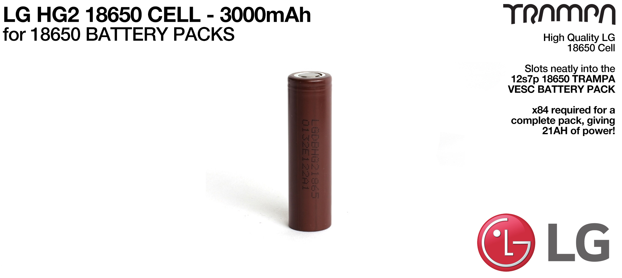LG HG2 18650 Cells 3000mAh - UK CUSTOMERS ONLY
