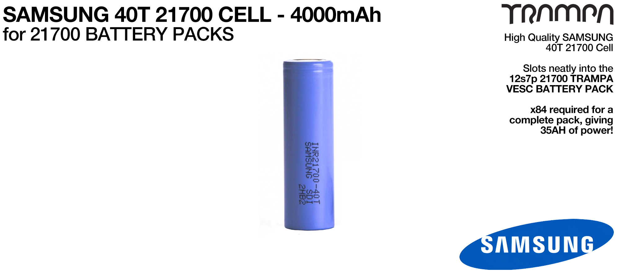 SAMSUNG 21700 40T 4000 mAh Cells - UK Customers only (+£550)