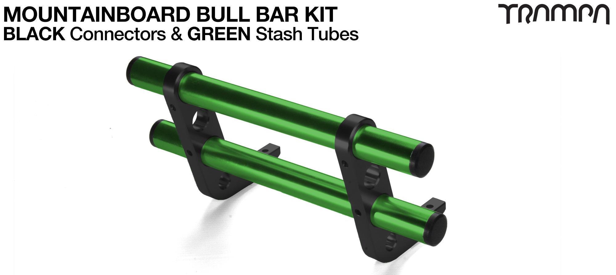 BLACK Uprights & GREEN Crossbar BULL BARS for MOUNTAINBOARDS using T6 Heat Treated CNC'd AluminIum Clamps, Hollow Aluminium Stash Tubes with Rubber end bungs