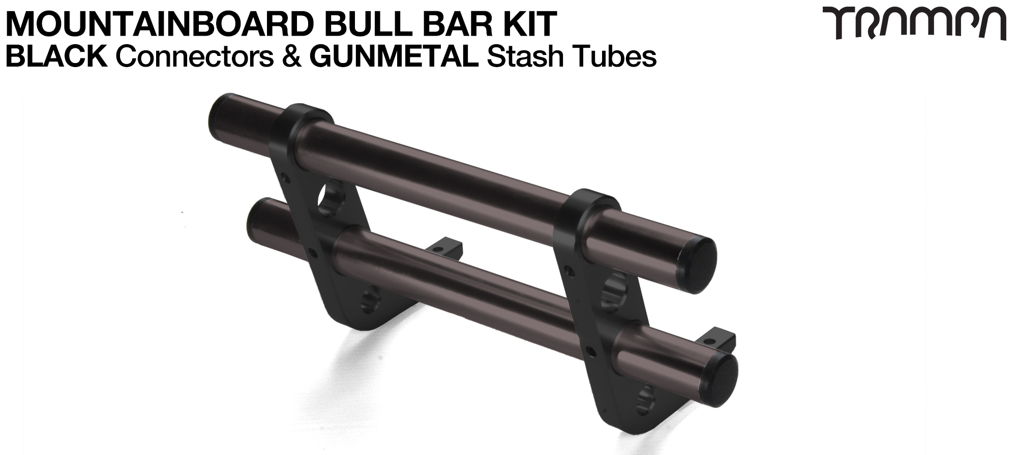 BLACK Uprights & GUNMETAL Crossbar BULL BARS for MOUNTAINBOARDS using T6 Heat Treated CNC'd AluminIum Clamps, Hollow Aluminium Stash Tubes with Rubber end bungs