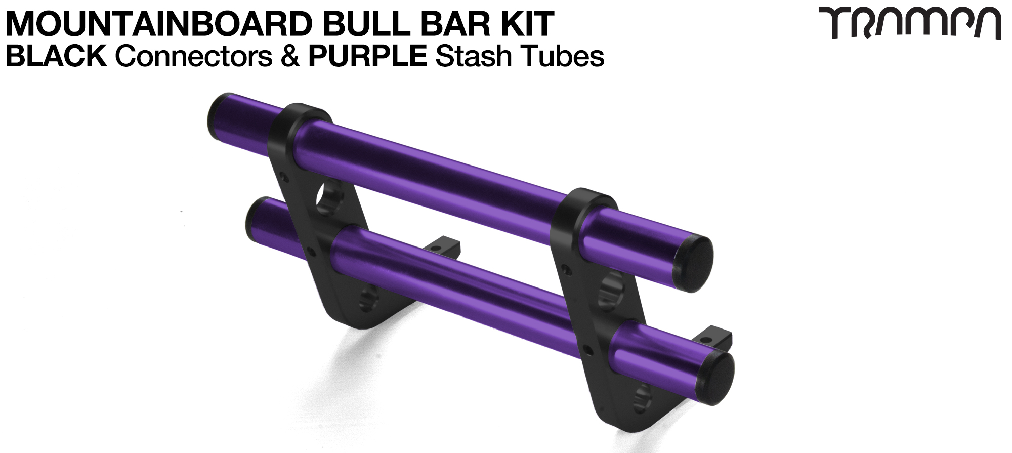 BLACK Uprights & PURPLE Crossbar BULL BARS for MOUNTAINBOARDS using T6 Heat Treated CNC'd AluminIum Clamps, Hollow Aluminium Stash Tubes with Rubber end bungs