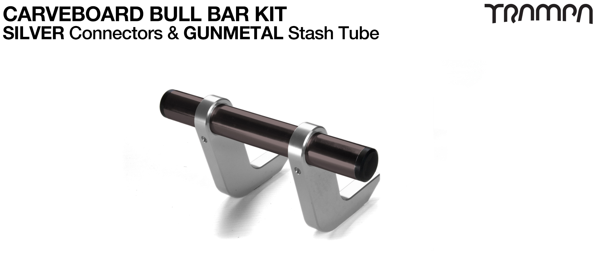 SILVER Uprights & GUNMETAL Crossbar BULL BARS for CARVE BOARDS using T6 Heat Treated CNC'd Aluminum Clamps, Hollow Aluminium Stash Tubes with Rubber end bungs