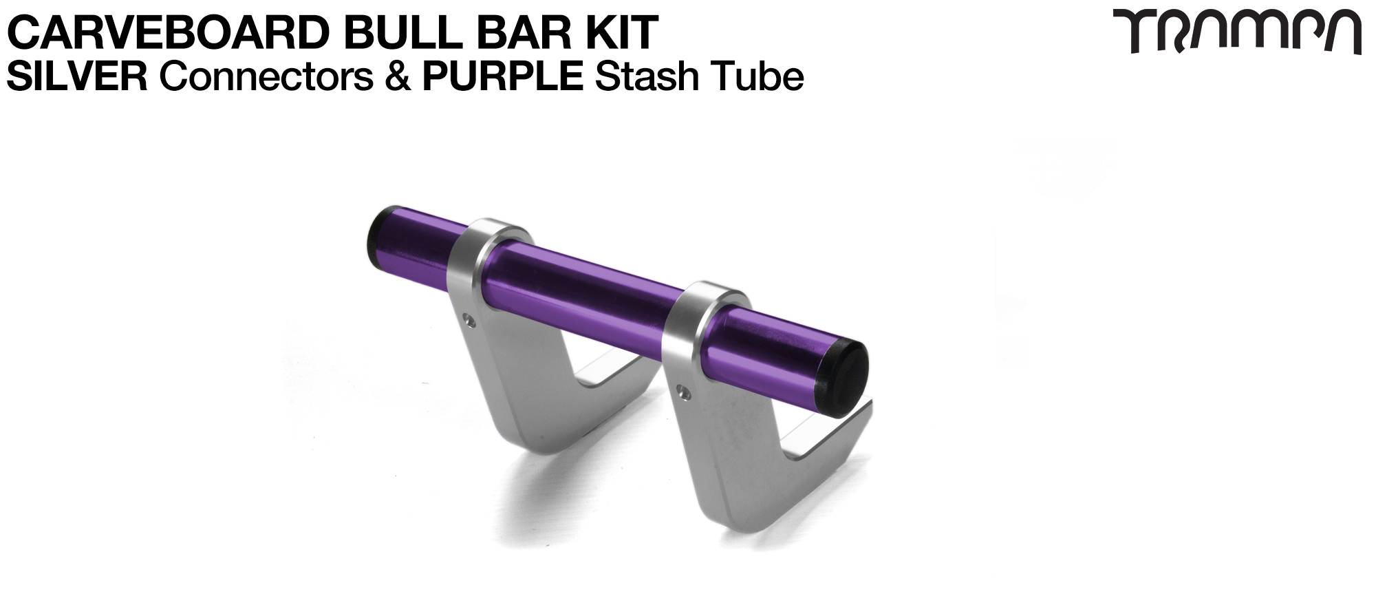 SILVER Uprights & PURPLE Crossbar BULL BARS for CARVE BOARDS using T6 Heat Treated CNC'd Aluminum Clamps, Hollow Aluminium Stash Tubes with Rubber end bungs