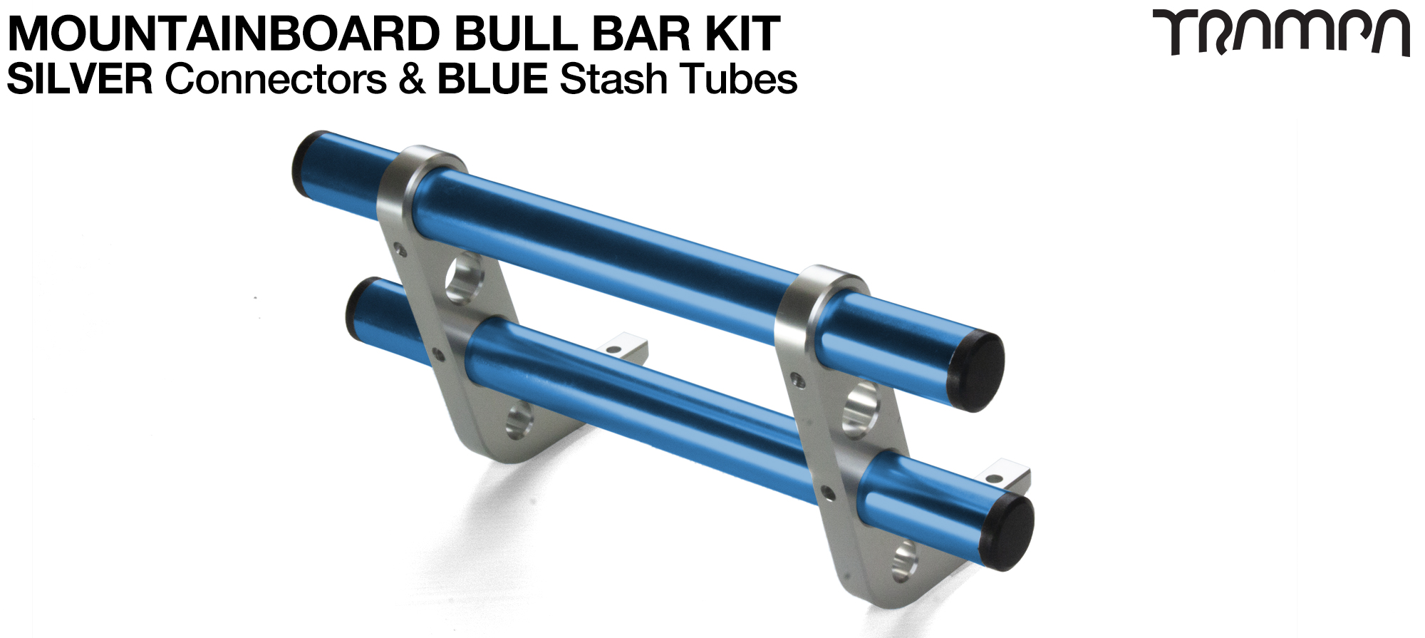 SILVER Uprights & BLUE Crossbar BULL BARS for MOUNTAINBOARDS T6 Heat Treated CNC'd Aluminium Uprights, with Hollow Aluminium Stash Tubes with Rubber end bungs