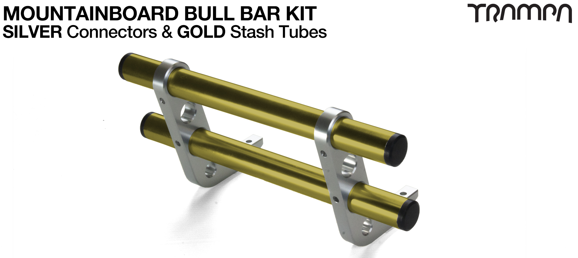 SILVER Uprights & GOLD Crossbar BULL BARS for MOUNTAINBOARDS T6 Heat Treated CNC'd Aluminium Uprights, with Hollow Aluminium Stash Tubes with Rubber end bungs