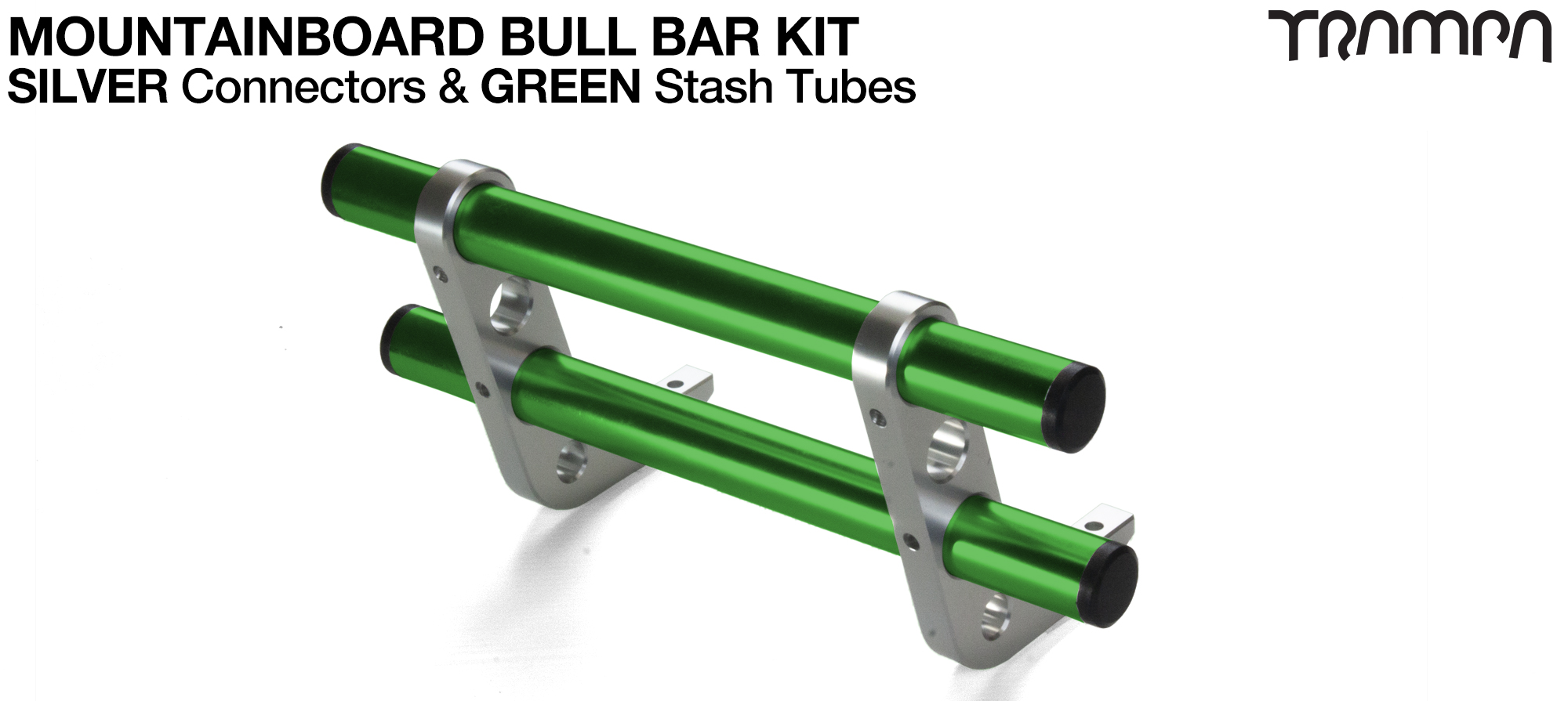 SILVER Uprights & GREEN Crossbar BULL BARS for MOUNTAINBOARDS T6 Heat Treated CNC'd Aluminium Uprights, with Hollow Aluminium Stash Tubes with Rubber end bungs