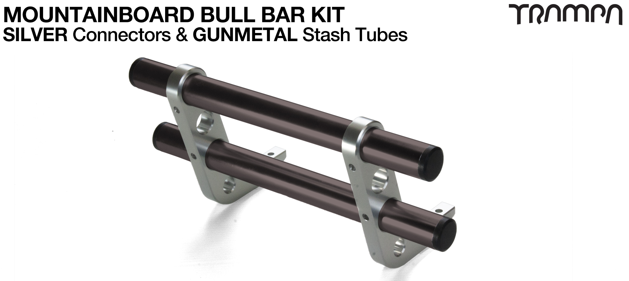 SILVER Uprights & GUNMETAL Crossbar BULL BARS for MOUNTAINBOARDS T6 Heat Treated CNC'd Aluminium Uprights, with Hollow Aluminium Stash Tubes with Rubber end bungs