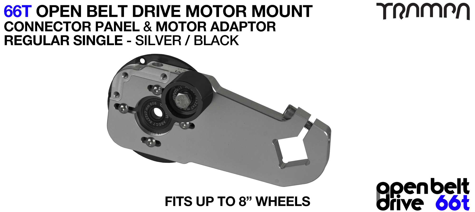 66T OPEN BELT DRIVE Motor Mount & Motor Adaptor - SINGLE SILVER