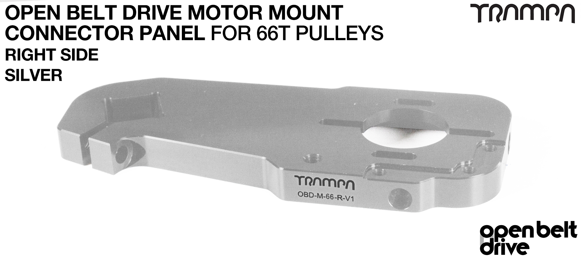 OBD Open Belt Drive Motor Mount Connector Panel for 66 tooth Pulleys - GOOFY - SILVER