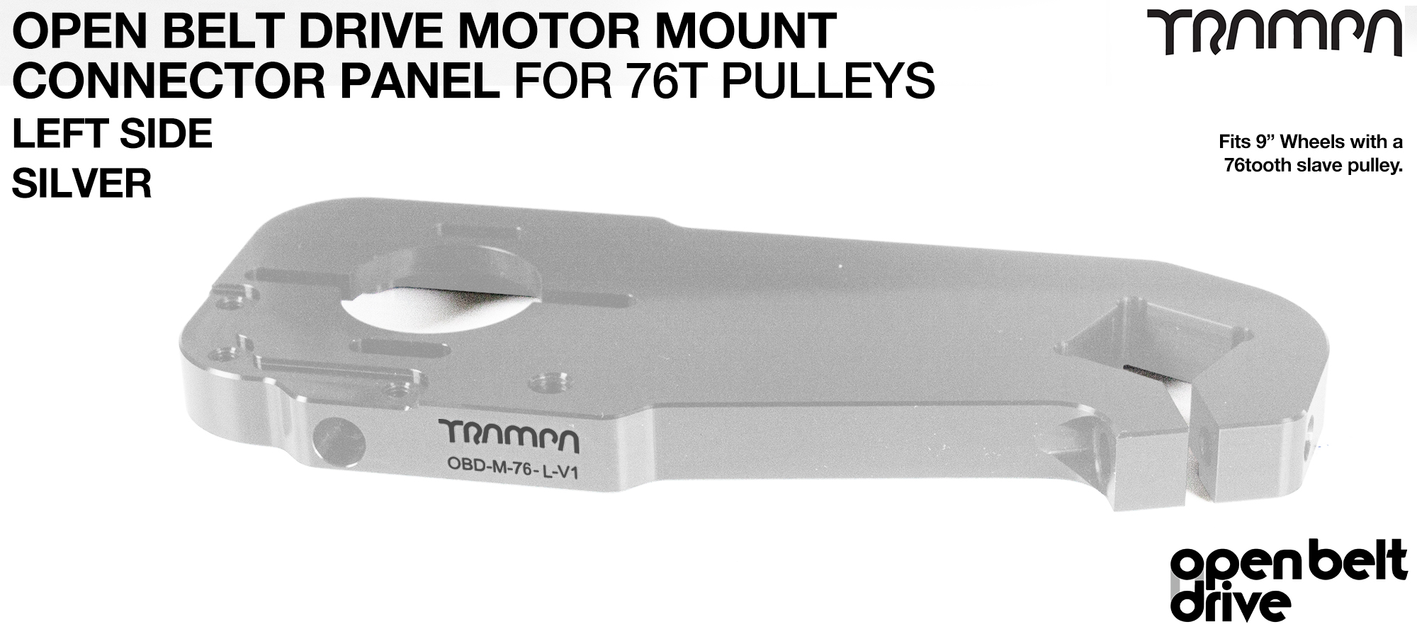 OBD Motor Mount Connector Panel for 76 tooth pulleys - REGULAR - SILVER