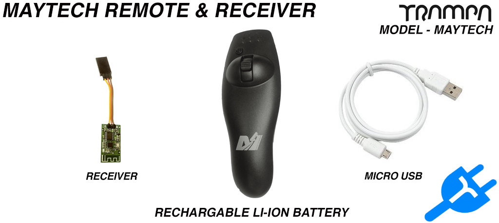 Maytech Rechargable Remote Control & Receiver - Thumb Controlled