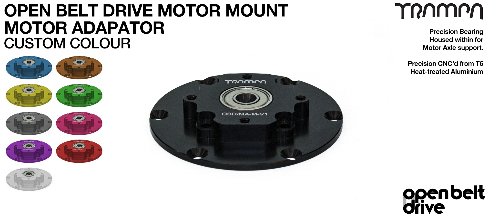 Open Belt Drive Motor Adaptor with Housed Bearing Connects with Both the 66 & the 76 Tooth Motor Mounts