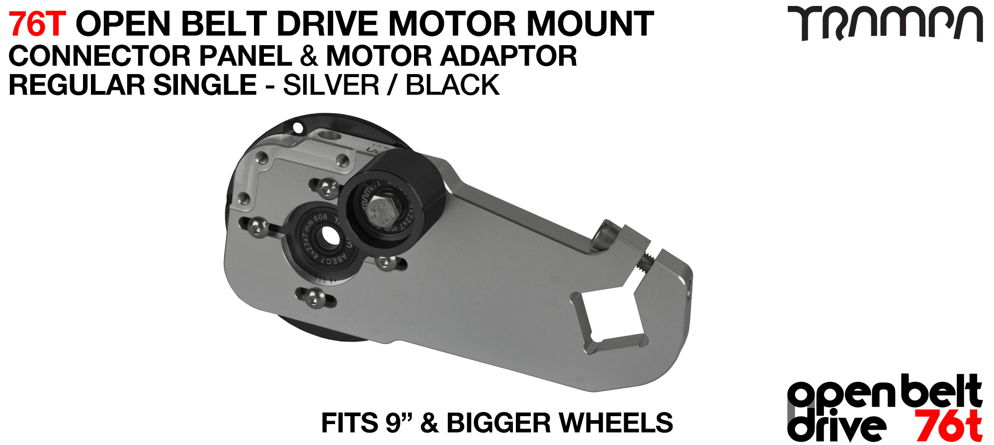 76T Open Belt Drive Motor Mount & Motor Adaptor - SINGLE SILVER