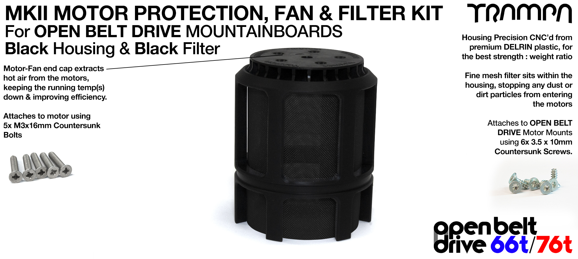 BLACK Stainless Steel Mesh & Motor Protection Sleeve & Fan (+£32.50)