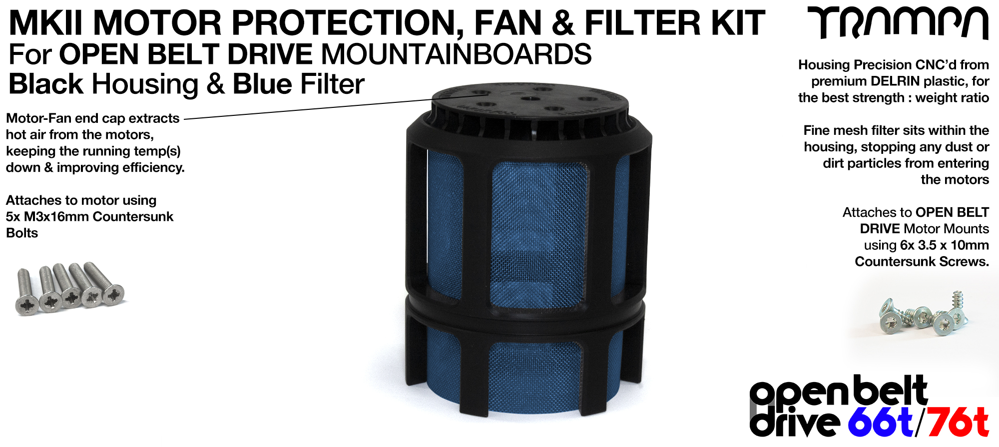 BLUE Stainless Steel Mesh & Motor Protection Sleeve & Fan (+£32.50)