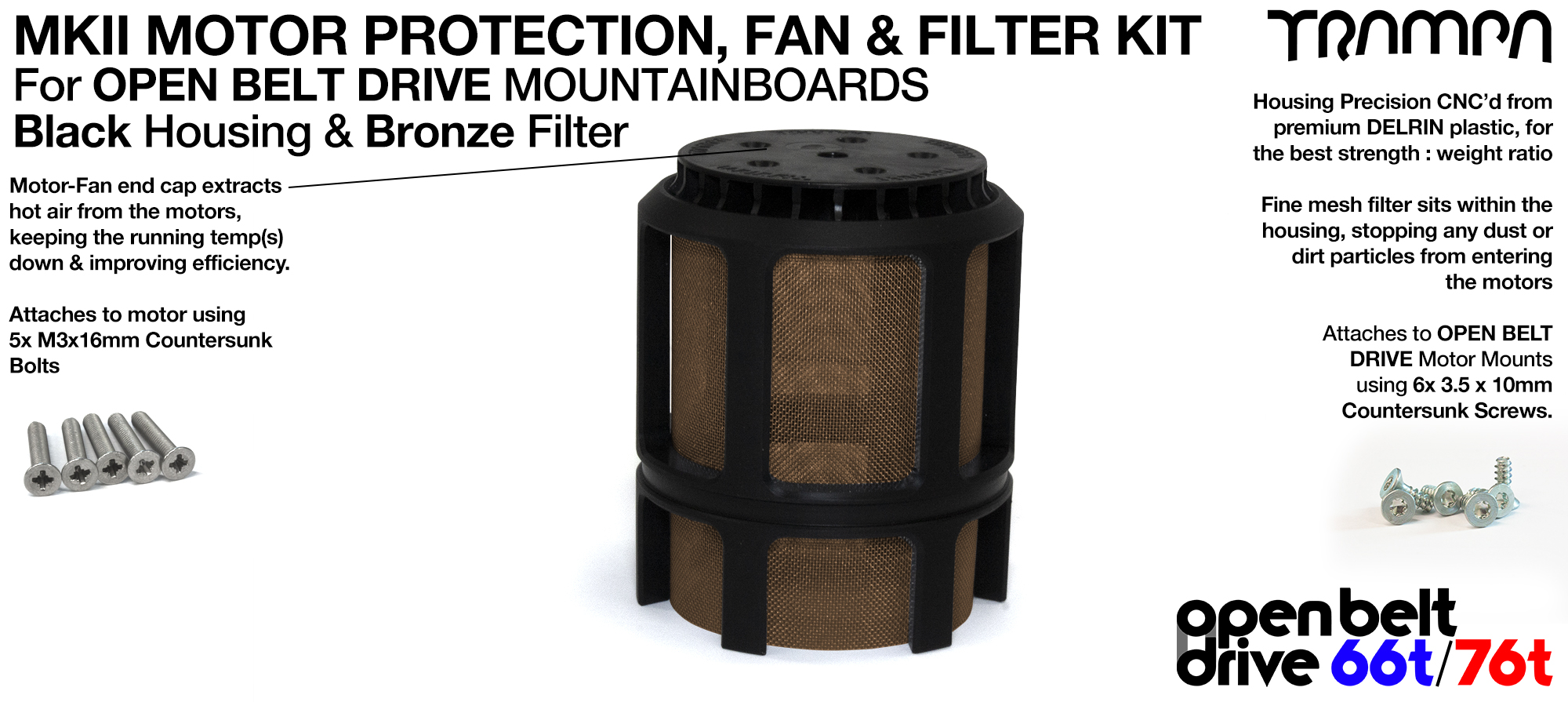 BRONZE Stainless Steel Mesh & Motor Protection Sleeve & Fan (+£32.50)