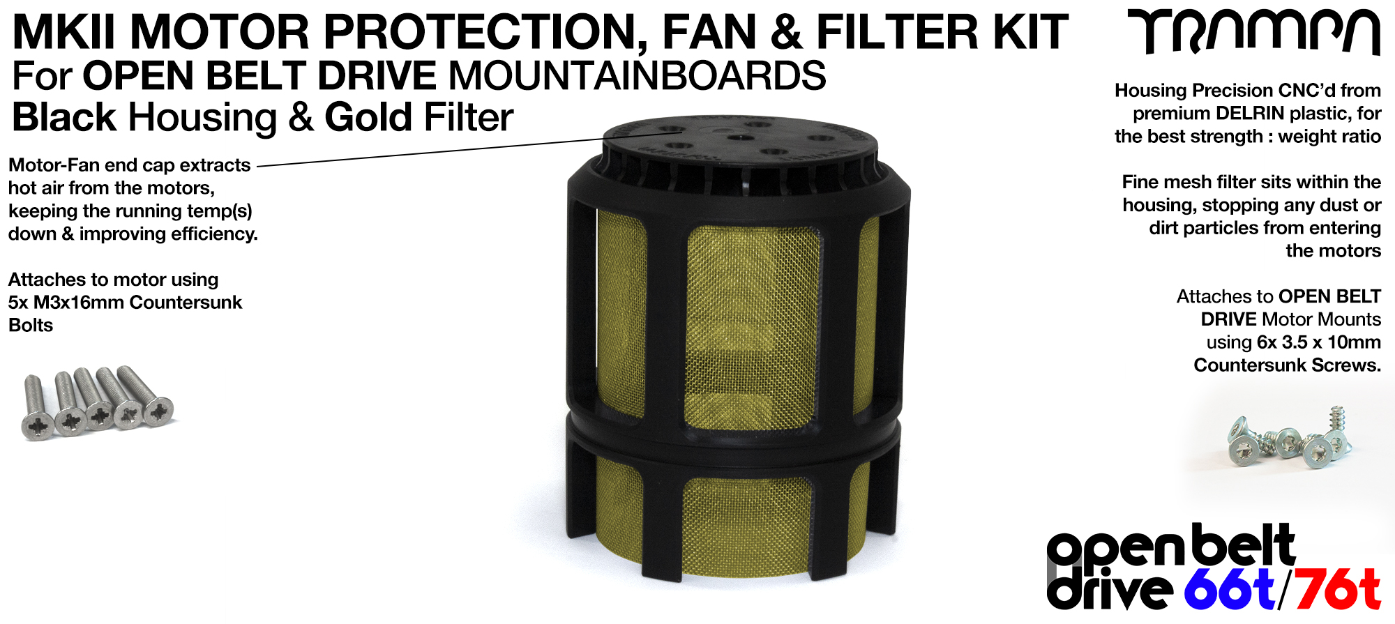 GOLD Stainless Steel Mesh & Motor Protection Sleeve & Fan (+£32.50)