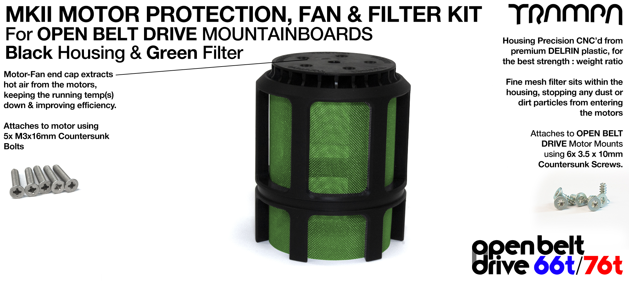 GREEN Stainless Steel Mesh & Motor Protection Sleeve & Fan (+£32.50)