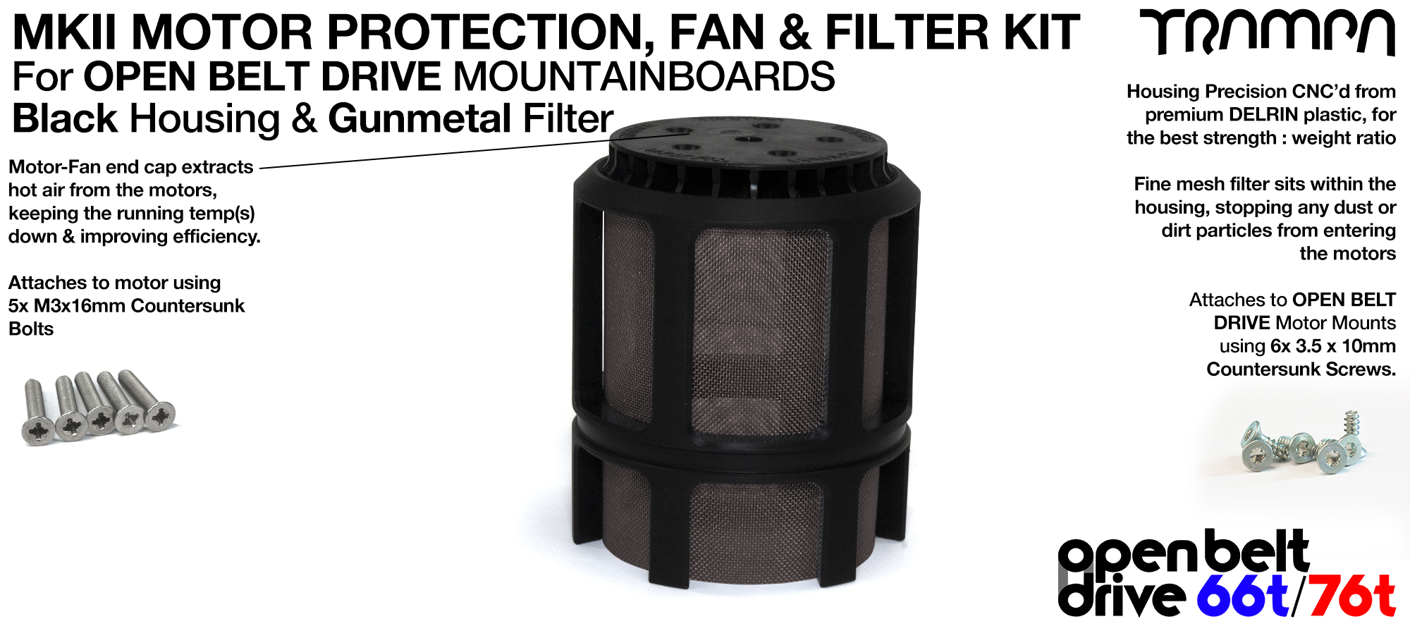 GUNMETAL Stainless Steel Mesh & Motor Protection Sleeve & Fan (+£32.50)