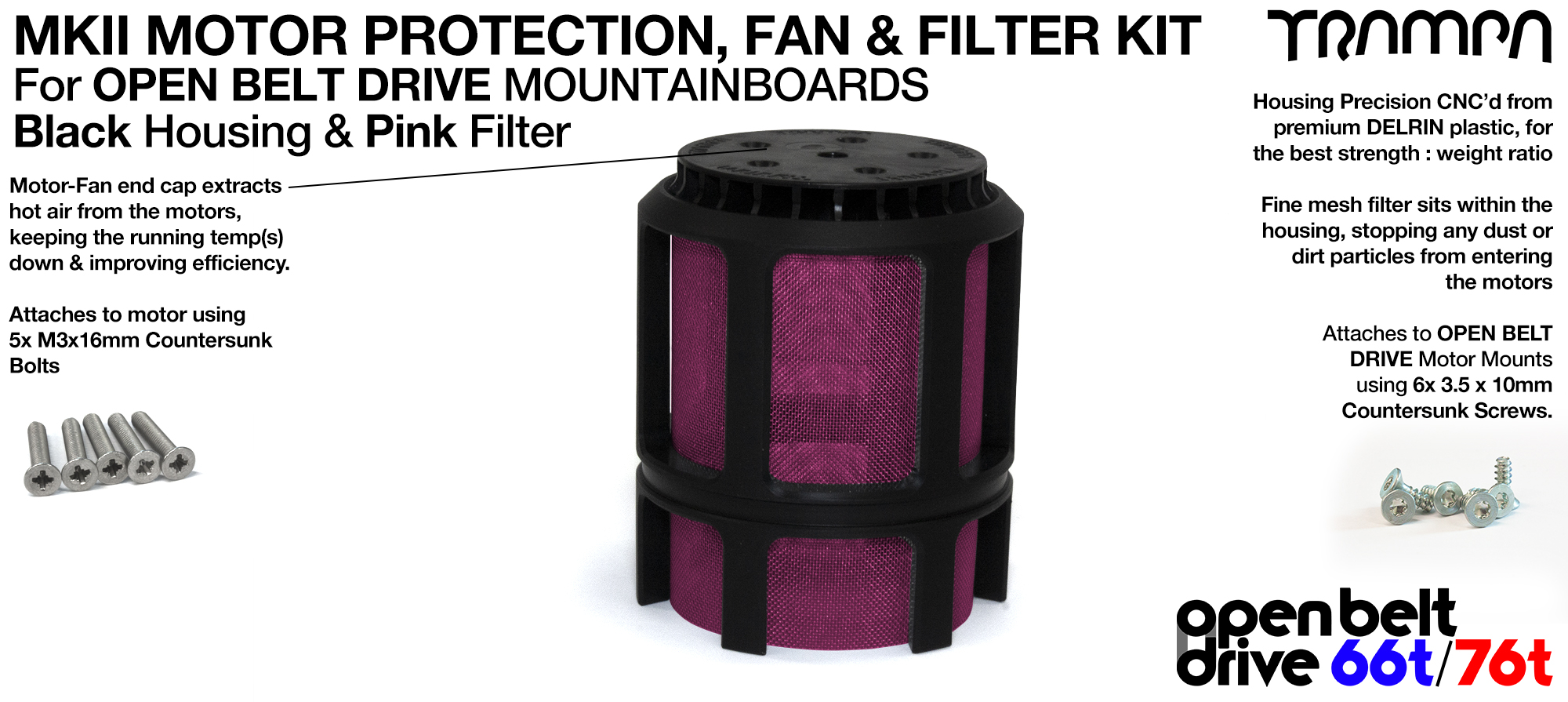 PINK Stainless Steel Mesh & Motor Protection Sleeve & Fan (+£32.50)