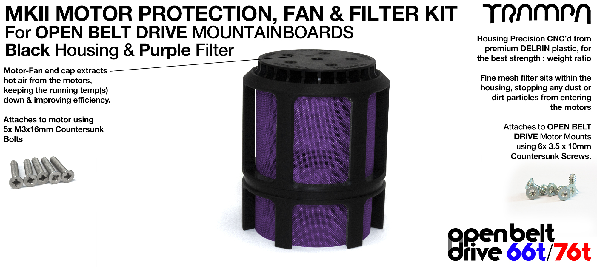 PURPLE Stainless Steel Mesh & Motor Protection Sleeve & Fan (+£32.50)