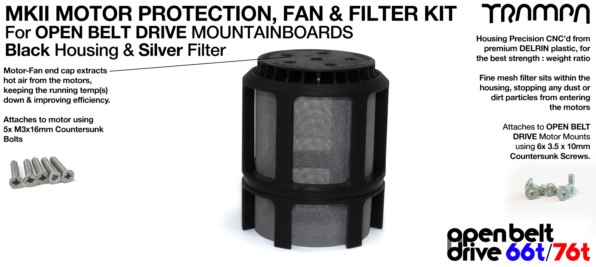 SILVER Stainless Steel Mesh & Motor Protection Sleeve & Fan (+£32.50)