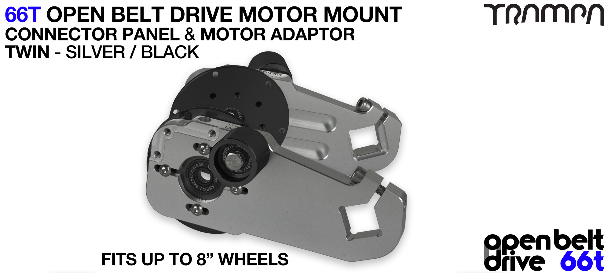 66T OPEN BELT DRIVE Motor Mount & Motor Adaptor - TWIN SILVER