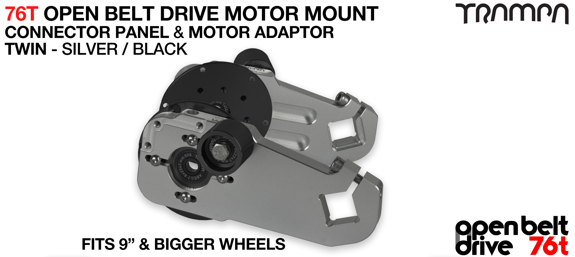 76T Open Belt Drive Motor Mount & Motor Adaptor - TWIN SILVER