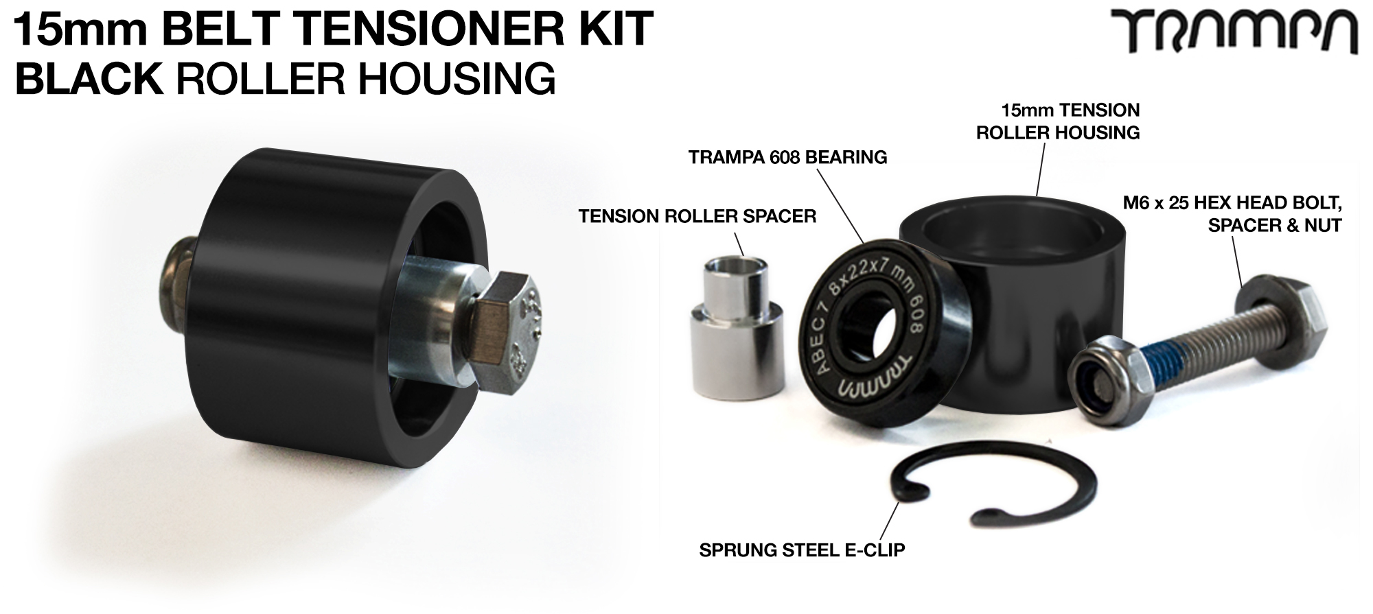 15mm Belt Tensioner - BLACK